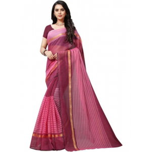 Generic Women's Chanderi Art Silk Saree with Blouse (Pink,5-6 mtrs)