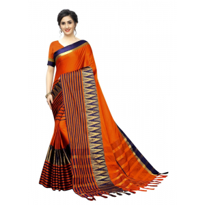 Generic Women's Polyster Cotton Saree with Blouse (OrangeBlue,5-6 mtrs)
