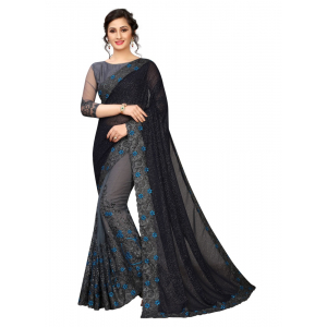 Generic Women's Mono Net Saree with Blouse (Multi,5-6 mtrs)