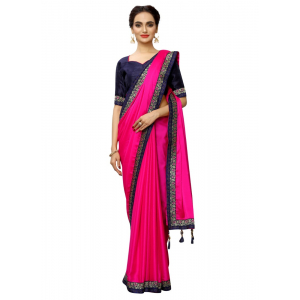 Generic Women's Rangoli Silk Saree with Blouse (Pink,5-6 mtrs)