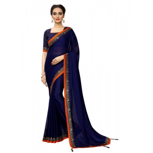 Generic Women's Rangoli Silk Saree with Blouse (NavyBlue,5-6 mtrs)