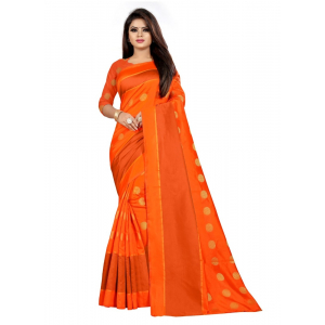 Generic Women's Art Silk Saree with Blouse (Orange,5-6 mtrs)