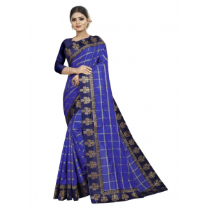 Generic Women's Panetar Silk Saree with Blouse (Blue,5-6 mtrs)