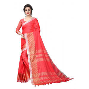 Generic Women's Linen Cotton Blend Saree with Blouse (Pink,5-6 mtrs)