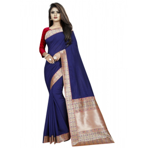 Generic Women's Vichitra Silk Saree with Blouse (Blue,5-6 mtrs)