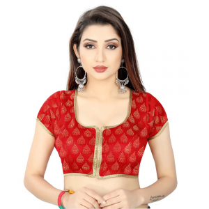 Generic Women's Nylon, Inner-Cotton Full Stitched Padded Blouse (Red)