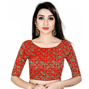 Generic Women's Brocade, Inner-Cotton Full Stitched Padded Blouse (Red Green)