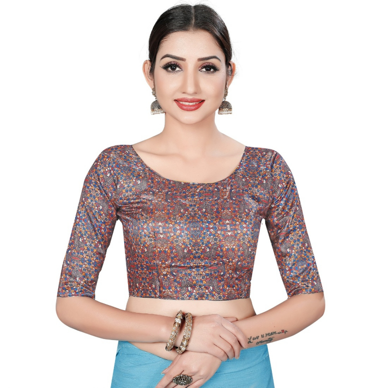 Generic Women's Satin Silk, Inner-Cotton Full Stitched Padded Blouse (Marun Multi )