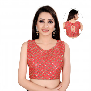 Generic Women's Satin Silk, Inner-Cotton Full Stitched Padded Blouse (Keri Red)