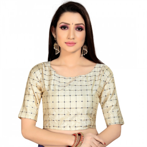 Generic Women's Brocade, Inner-Cotton Full Stitched Padded Blouse (Chiku )