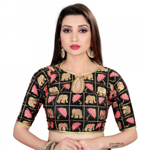 Generic Women's Satin Silk, Inner-Cotton Full Stitched Padded Blouse (Black pink)