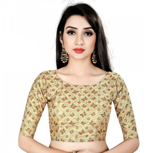 Generic Women's Brocade, Inner-Cotton Full Stitched Padded Blouse (Chiku cofee)