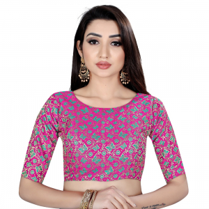 Generic Women's Brocade, Inner-Cotton Full Stitched Padded Blouse (Pink Green)