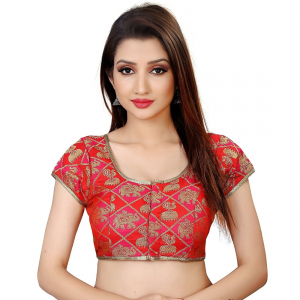 Generic Women's Brocade, Inner-Cotton Full Stitched Padded Blouse (Red)