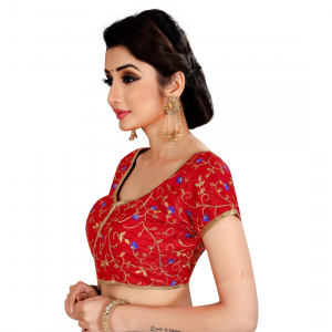 Generic Women's Satin Silk, Inner-Cotton Full Stitched Padded Blouse (Red)