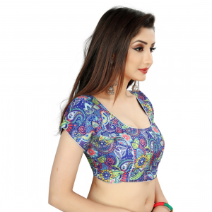 Generic Women's Satin Silk, Inner-Cotton Full Stitched Padded Blouse (Blue multi)