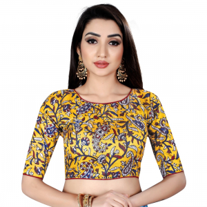 Generic Women's Satin Silk, Inner-Cotton Full Stitched Padded Blouse (Mustard)
