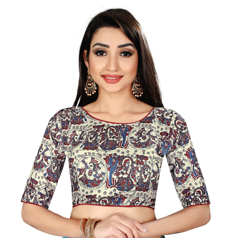 Generic Women's Satin Silk, Inner-Cotton Full Stitched Padded Blouse (Ravan)