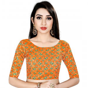 Generic Women's Brocade, Inner-Cotton Full Stitched Padded Blouse (Orange Green)