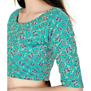 Generic Women's Brocade, Inner-Cotton Full Stitched Padded Blouse (Green Blue)
