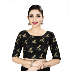 Generic Women's Satin Silk, Inner-Cotton Full Stitched Padded Blouse (Black )