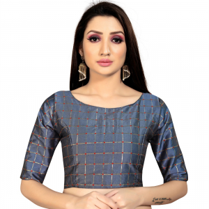 Generic Women's Brocade, Inner-Cotton Full Stitched Padded Blouse (Dark Grey )