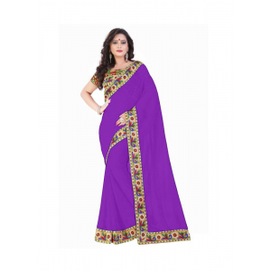 Generic Women's Lace Border Work With Chiffon Saree with Blouse (Purple,5-6 Mtrs)
