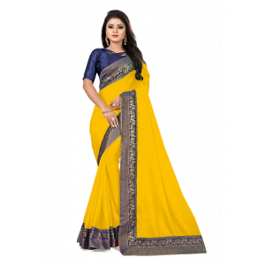 Generic Women's Lace Border Work With Chiffon Saree with Blouse (Yellow,5-6 Mtrs)