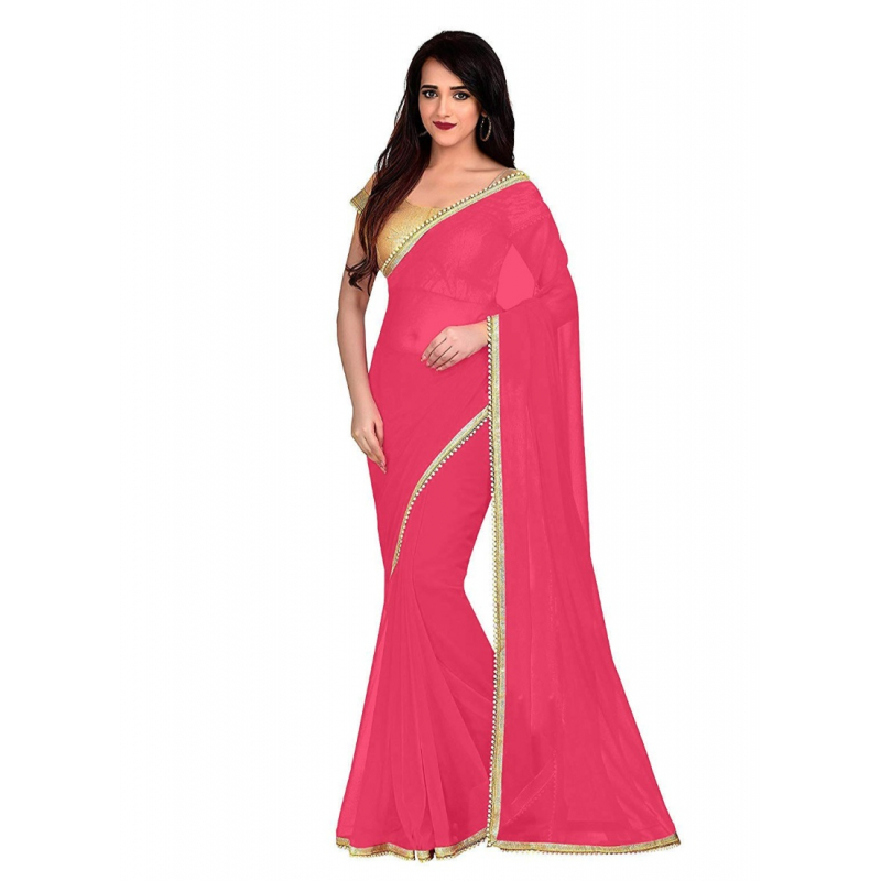 Generic Women's Lace Border Work With Chiffon Saree with Blouse (Peach Orange,5-6 Mtrs)