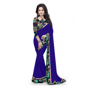 Generic Women's Lace Border Work With Chiffon Saree with Blouse (Royal Blue,5-6 Mtrs)