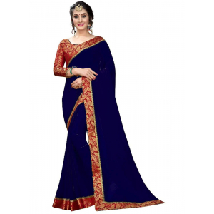 Generic Women's Lace Border Work With Chiffon Saree with Blouse (Navy Blue,5-6 Mtrs)