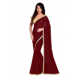 Generic Women's Lace Border Work With Chiffon Saree with Blouse (Maroon,5-6 Mtrs)