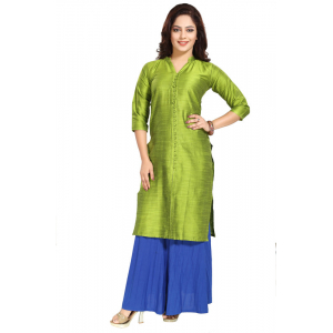 Generic Women's Silk Self Pattern Straight Kurti-Green