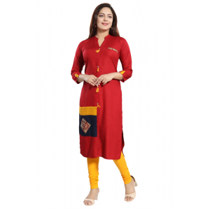 Generic Women's Rayon Self Pattern Straight Kurti-Maroon