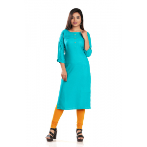 Generic Women's Rayon Self Pattern Straight Kurti-Blue