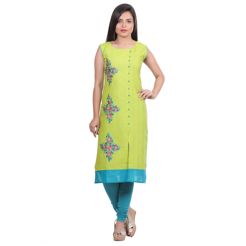 Generic Women's Cotton Embroidered Straight Kurti-Green