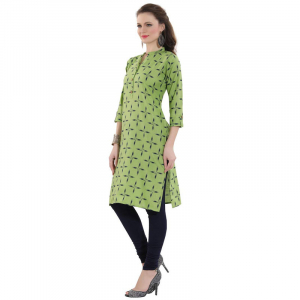 Generic Women's Cotton Printed Straight Kurti-Green