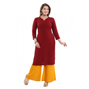 Generic Women's Rayon Embroidered Straight Kurti-Maroon