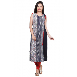 Generic Women's Georgette Printed Straight Kurti-Black