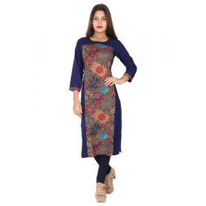 Generic Women's Rayon Printed Straight Kurti-Navy Blue