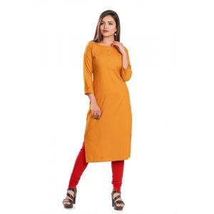 Generic Women's Rayon Self Pattern Straight Kurti-Yellow