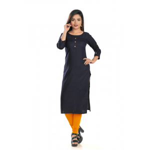 Generic Women's Rayon Self Pattern Straight Kurti-Black
