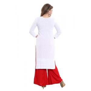 Generic Women's Rayon Embroidered Straight Kurti-White