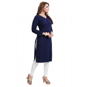 Generic Women's Rayon Embroidered Straight Kurti-Navy Blue