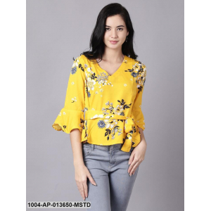 Mustard yellow Casual Printed V-Neck Top