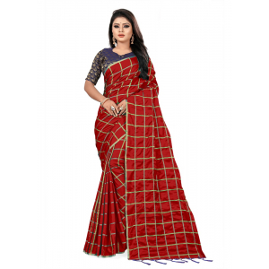 Generic Women's Paper Silk Saree wih Blouse (Red, 5-6mtrs)