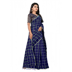 Generic Women's Paper Silk Saree wih Blouse (Navy Blue, 5-6mtrs)