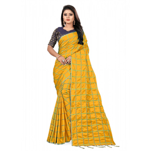 Generic Women's Paper Silk Saree wih Blouse (Yellow, 5-6mtrs)