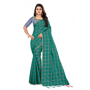 Generic Women's Paper Silk Saree wih Blouse ( Sea Green, 5-6mtrs)