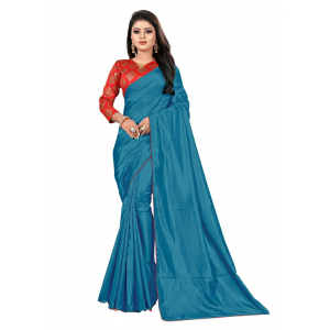 Generic Women's Paper Silk Saree wih Blouse (Sky, 5-6mtrs)